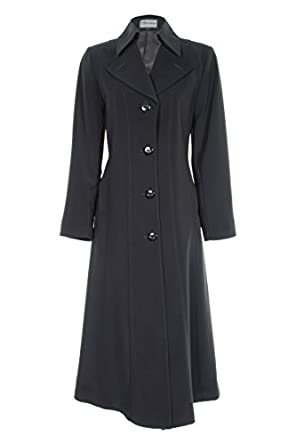 Busy Clothing Womens Black Long Trench Coat Mac: Amazon.co.uk ...